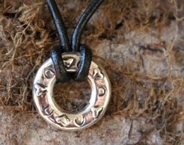 hoofprints on my heart circle pendant