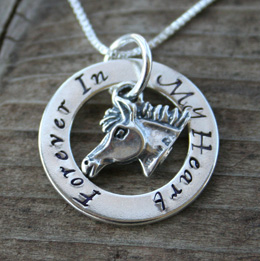 personalized eternity affirmation circle horse pendant