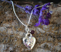 pawprints heart pet memorial necklace