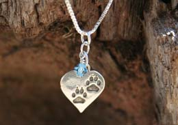 paws in heart pendant pet loss