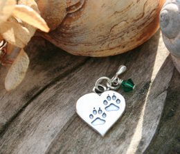 pawprints heart charm for loss